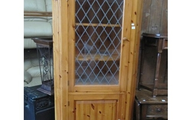 Solid Pine Glazed Top Corner Cabinet.