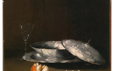 Still Life with Bowl, Glass and Orange, Théodule Ribot