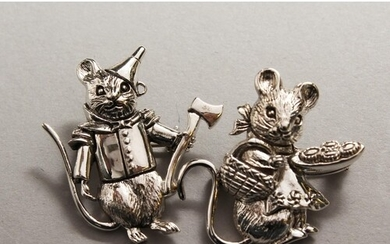 TWO BEATRIX POTTER SILVER MICE BROOCHES
