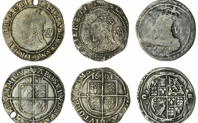 Elizabeth I (1558-1603), Sixpences, Tower (2), Sixth Issue, 1583, m.m. A; another, Seventh Issue, 1601 over 159-, m.m. 1; lastly, Charles I, Group D, Sixpence, 1633-1634, Type 3, m.m. portcullis