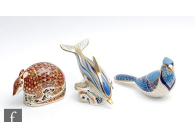 Three boxed Royal Crown Derby paperweights comprising an Arm...