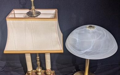 Two 20th century lamps, one in Empire style, H.51.5