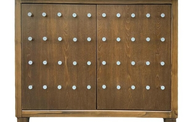 Two-door walnut furniture with studs on the front, lava