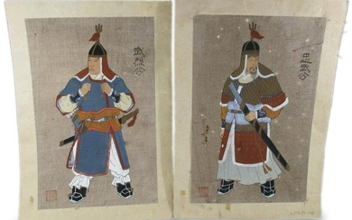 Vintage pair of Chinese gouaches on canvas paintings