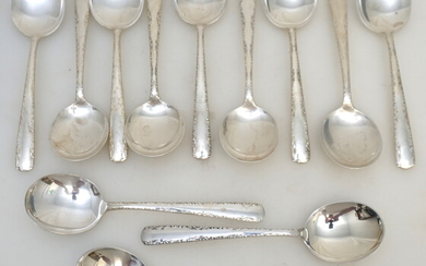 12 GORHAM STERLING SILVER SOUP SPOONS