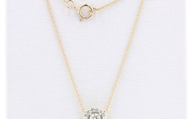 14 kt. Yellow gold - Necklace with pendant - 0.22 ct Diamonds