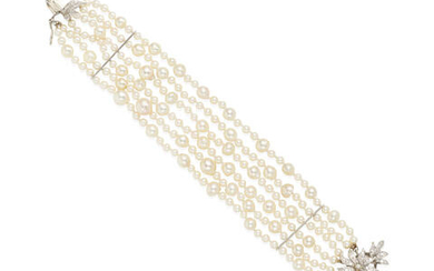 A 14K WHITE GOLD, CULTURED PEARL AND DIAMOND BRACELET