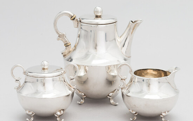 A 3-piece Mexican sterling silver tea set, mid-20th century.