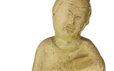 A Chinese Sui/Tang Dynasty straw glazed pottery figure of a court lady, H 18 cm