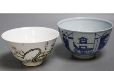A Chinese blue and white figural bowl and another prunus dec...