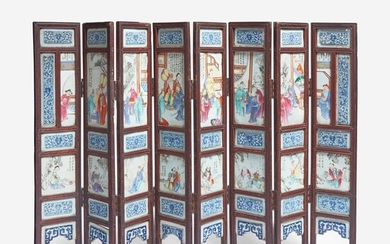 A Chinese famille rose-porcelain mounted eight-panel screen 洋彩八开瓷屏风