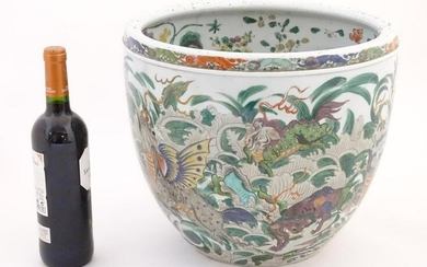 A Chinese famille verte jardiniere / planter, the body
