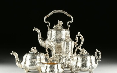 A FIVE PIECE MAISON ODIOT STERLING SILVER TEA/COFFEE