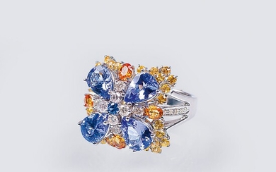 A Flower Ring with colourful Precious Stones.