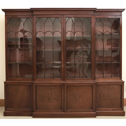 A George III mahogany breakfront library bookcase, c1800, th...