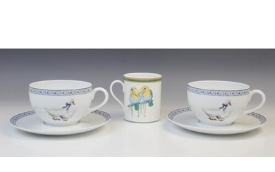 A Hermes porcelain mug in the Toucan pattern, late 20th cent...