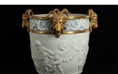 A LARGE LATE 19TH CENTURY SEVRES STYLE BISCUIT PORCELAIN AND...