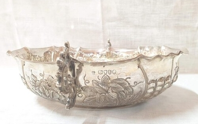 A Large Antique Sterling Silver Bowl, Hand Embossed and Engr...