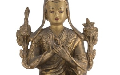 A NEPALESE BRONZE SCULPTURE DEPICTING TSONGKHAPA 20TH CENTURY.