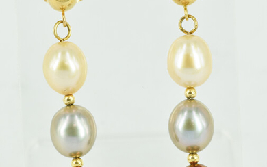A PAIR OF PEARL AND 14CT GOLD DROP EARRINGS