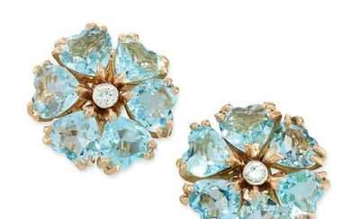 A PAIR OF VINTAGE AQUAMARINE AND DIAMOND EARRINGS in