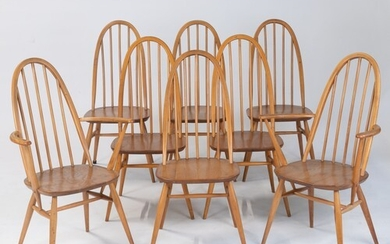 A SET OF EIGHT WINDSOR QUAKER DINING CHAIRS, DESIGNED BY LUC...