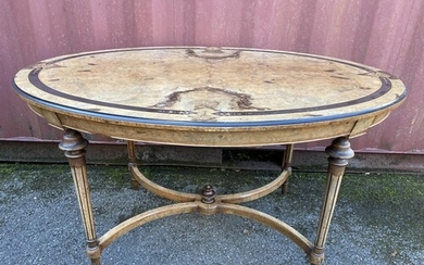 A Victorian inlaid walnut centre table with a banded and mar...