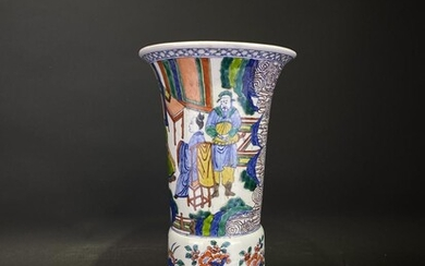 """A """"WuCai"""" 五彩 Chinese porcelain vase handpainted with Chinese scholars and flowers"""