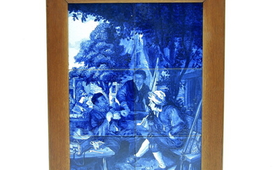 """A blue/white pottery tile panel, painted after the painting """"Resting..."""