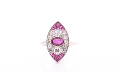 A diamond and ruby ring, the Art Deco style marquise-shaped ...