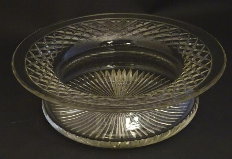 A large early 20thC lead crystal bowl, with a swept