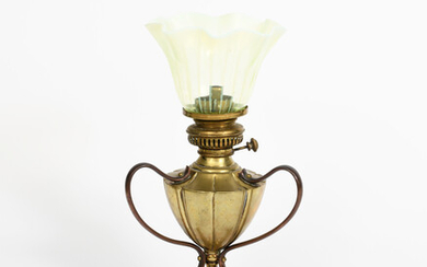 A rare WAS Benson copper and brass seedpod table lamp