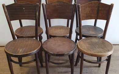 A set of six Fischel bentwood chairs, embossed mark to base ...