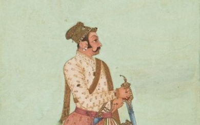 A standing portrait of Maharaja Shri Jaswant Singh Ji by Ka Murad, Bikaner, Rajasthan, North India, late 18th century, opaque pigments heightened with gold on paper, depicted on a green ground, and smelling a flower, his elegant clothes embroidered...
