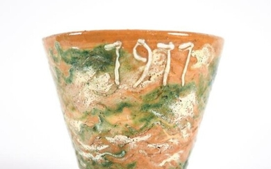 ANTIQUE FRENCH JASPE POTTERY VESSEL