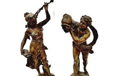 After Bucheron - A pair of 19th Century French spelter figur...