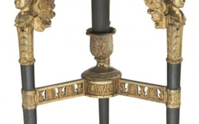 An Empire-Style Patinated and Gilt Bronze Tripod