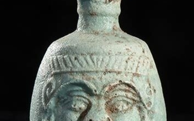 Ancient Egyptian Faience Flask depicting the God Bes - 5.5×3.5×0 cm
