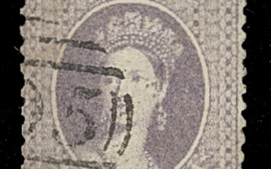 """Bahamas 1862 No Watermark Perforated 13 6d. lavender-grey, a good used example with part """"A05""""..."""