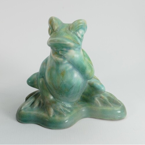 Beswick Ware early Frog 368: in green crackled glaze.