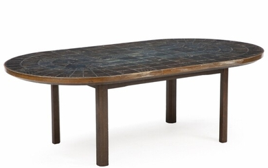 Bjørn Wiinblad: An oval coffee table of stained beech. Top inlaid with patterned tiles, decorated...