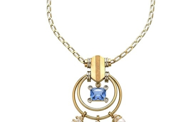 Chain and pendant in yellow gold, diamonds, blue stone and pearls