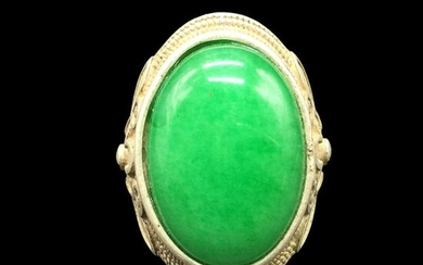 Chinese Ring w Green Stone