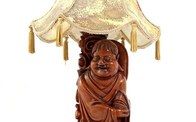 (-), Chinese wooden bombarded table lamp base in...