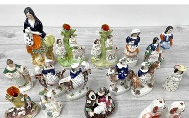 Collection of 19th century Staffordshire figures (13)...