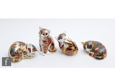 Four boxed feline Royal Crown Derby paperweights comprising ...