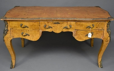 French Style Writing Desk, Burled Veneer with Gilt