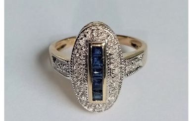 Gold Diamond and Sapphire Ring, Size L 1/2