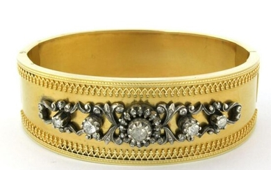 Gold and silver hinged bracelet set with rose cut