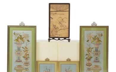 Group of Chinese Framed Embroidered Panels.